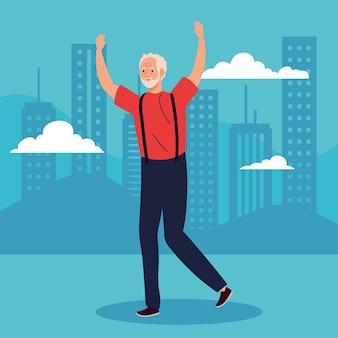 Netter alter mann mit den händen, die illustration feiern