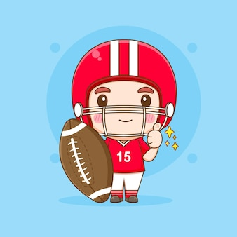 Netter american-football-spieler, der große rubgy-ball-chibi-cartoon-charakterillustration hält
