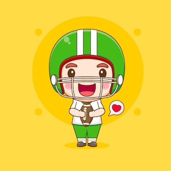 Netter american-football-spieler, der rubgy ball chibi-cartoon-charakterillustration hält