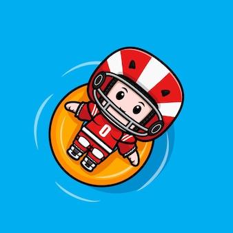 Netter amerikanischer fußballspieler, der auf wasser mit schwimmender bouy-maskottchenillustration schwimmt