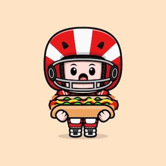 Netter amerikanischer fußballspieler mit hotdog-maskottchenillustration