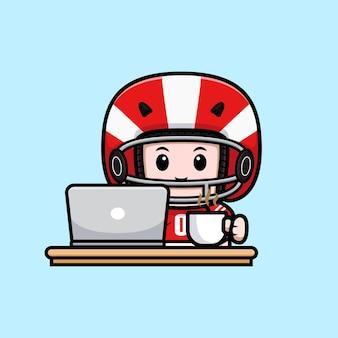 Netter amerikanischer fußballspieler mit laptop und einer tasse kaffeemaskottchenillustration
