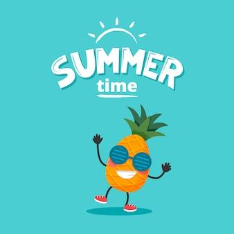 Netter ananascharakter mit sommerbeschriftung. vektorillustration im flachen stil