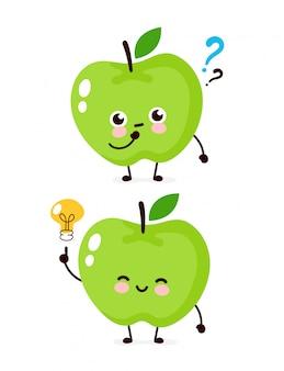 Netter apfel mit fragezeichen und glühbirnencharakter. flache karikaturcharakterillustrationsikonenentwurf. auf weißem hintergrund isoliert. apple hat ideenkonzept