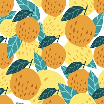 Netter apfelhintergrund. nahtloses muster mit äpfeln und blättern. design für stoff, textildruck, geschenkpapier, kindertextilien. vektor-illustration