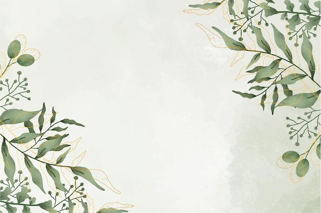 Netter aquarell-blatt-rahmen mit aquarell-hintergrund Kostenlosen Vektoren