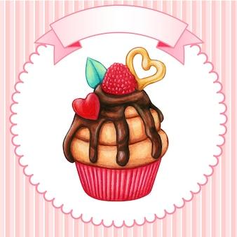Netter aquarell-cupcake mit himbeere, herzen und schokolade