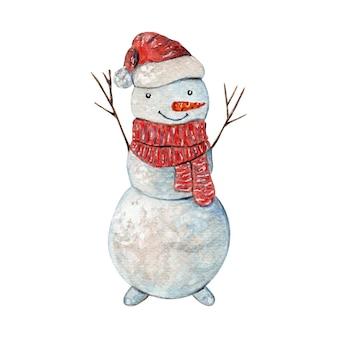 Netter aquarell-schneemann in weihnachtsschal und -mütze
