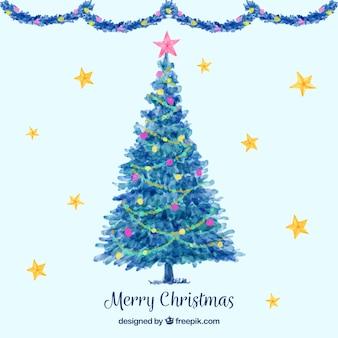 Netter aquarellhintergrund mit einem blauen weihnachtsbaum