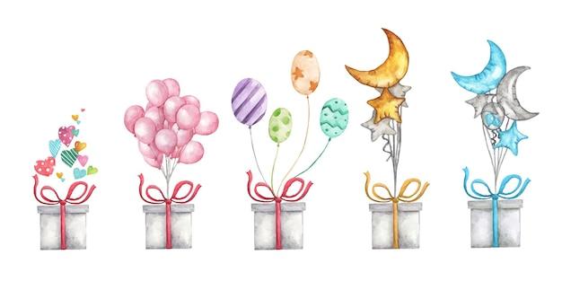 Netter aquarellromantikillustrationssatz der gestaltungselemente für valentinstag. geschenkbox mit luftballons.