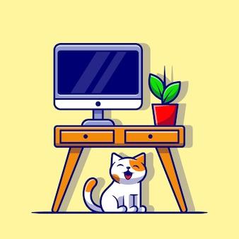 Netter arbeitsplatz mit katze und pflanze cartoon vektor icon illustration. tier natur symbol konzept isoliert premium-vektor. flacher cartoon-stil