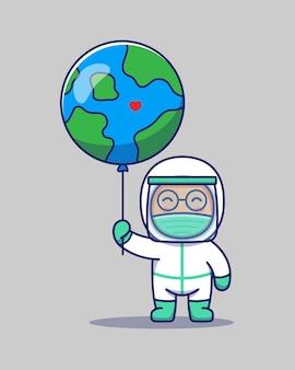 Netter arzt, der planetenerdeballon trägt