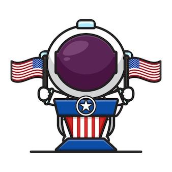Netter astronaut auf der kanzel, der flaggen hält, feiern amerika-unabhängigkeitstagkarikaturikonen-vektorillustration. design lokalisiert auf weiß. flacher cartoon-stil.