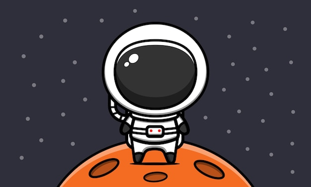 Netter astronaut auf mond cartoon icon illustration
