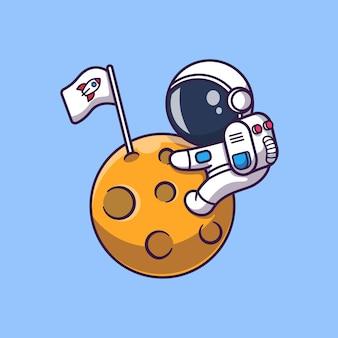 Netter astronaut auf mond-symbol-illustration. raumfahrer maskottchen zeichentrickfigur. wissenschafts-ikonen-konzept isoliert
