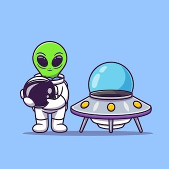 Netter astronaut-außerirdischer, der helm mit raumschiff-ufo-karikatur-vektor-illustration hält.