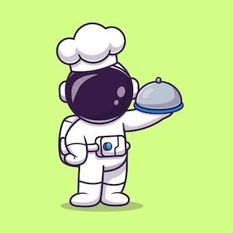 Netter astronaut chef holding cloche essen teller cartoon vektor icon illustration. wissenschaft beruf symbol konzept isoliert premium-vektor. flacher cartoon-stil