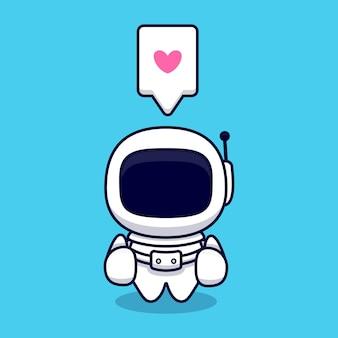Netter astronaut daumen hoch cartoon. flacher cartoon-stil