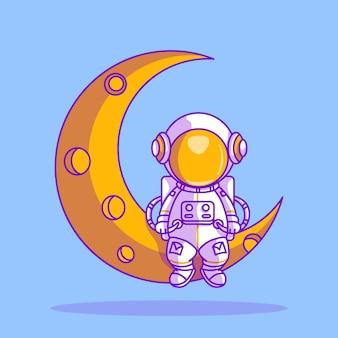 Netter astronaut, der auf einer mondikonenillustration sitzt