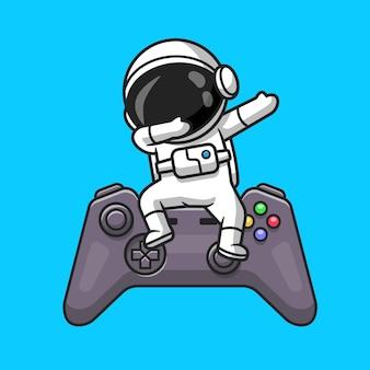 Netter astronaut, der auf game-controller-karikatur-vektor-icon-illustration tupfen. technologie-erholung-symbol-konzept isoliert premium-vektor. flacher cartoon-stil