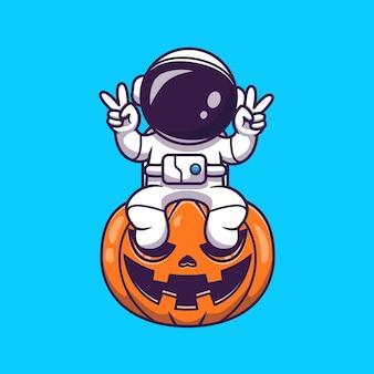 Netter astronaut, der auf kürbis-halloween mit friedenshand-karikatur sitzt