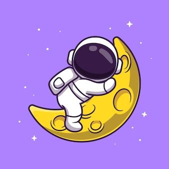 Netter astronaut, der auf mond-illustration schläft.