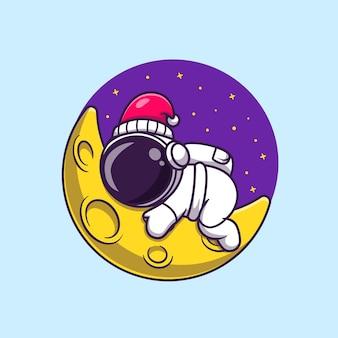 Netter astronaut, der auf mondillustration schläft