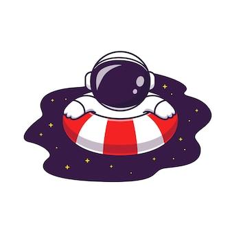 Netter astronaut, der auf weltraum-pool-karikatur-illustration schwimmt