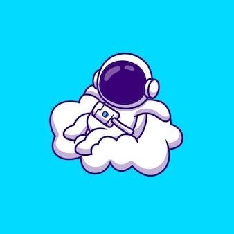 Netter astronaut, der auf wolken-karikatur-vektor-illustration sitzt. wissenschaftlicher technologie-konzept-isolierter premium-vektor. flacher cartoon-stil