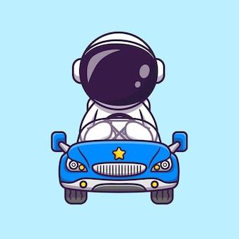 Netter astronaut, der auto-karikatur-vektor-symbol-illustration fährt. wissenschaft transport symbol konzept isoliert premium-vektor. flacher cartoon-stil