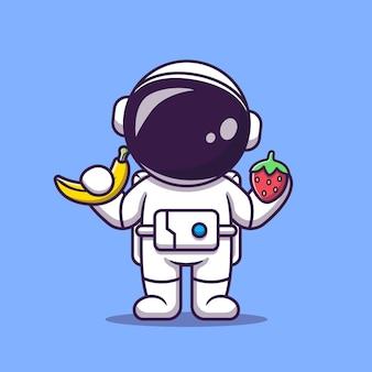 Netter astronaut, der bananen- und erdbeer-karikatur hält
