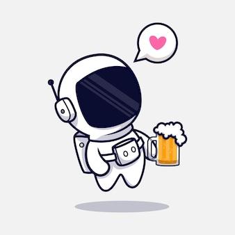 Netter astronaut, der bier-karikatur trinkt. flacher cartoon-stil