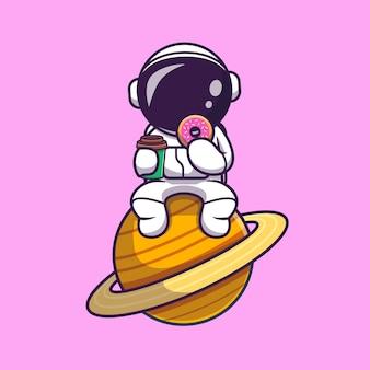 Netter astronaut, der donut isst und kaffeetasse auf dem mond-cartoon hält