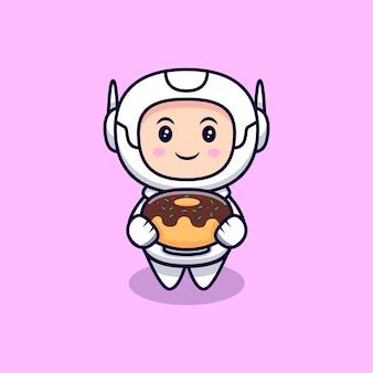 Netter astronaut, der eine donut-karikaturillustration hält. flacher cartoon-stil