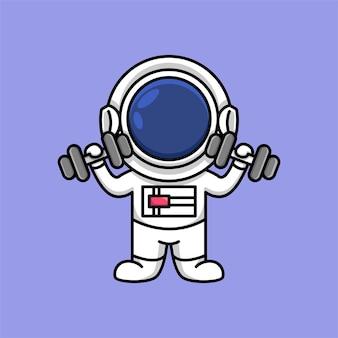 Netter astronaut, der eine hantelkarikaturillustration hält