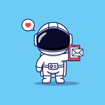 Netter astronaut, der eine nachricht auf seinem smartphone empfängt