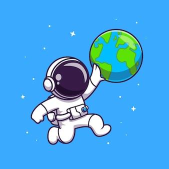 Netter astronaut, der erdball-illustration spielt.