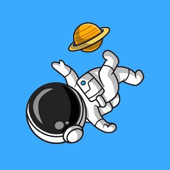 Netter astronaut, der fußball-planeten-karikatur-vektor-icon-illustration spielt. sportwissenschaft symbol konzept isoliert premium-vektor. flacher cartoon-stil