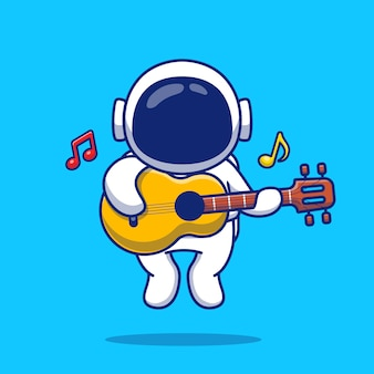 Netter astronaut, der gitarre cartoon icon illustration spielt. people science music icon konzept isoliert premium. flacher cartoon-stil