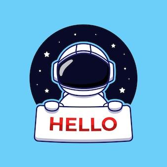 Netter astronaut, der hallo-karte trägt