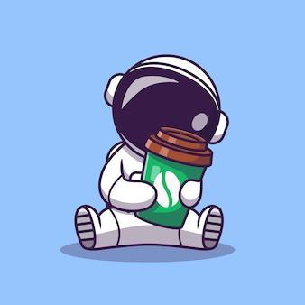 Netter astronaut, der kaffeetasse cartoon illustration hält. wissenschaft essen und trinken symbol konzept. flacher cartoon-stil