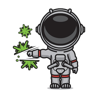Netter astronaut, der koronavirus trifft