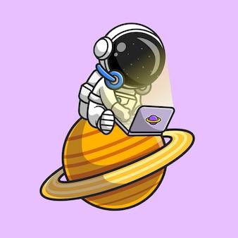 Netter astronaut, der laptop auf planeten-karikatur-vektor-symbol-illustration spielt. wissenschaft technologie symbol konzept isoliert premium-vektor. flacher cartoon-stil