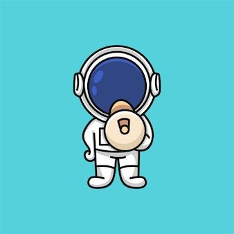 Netter astronaut, der lautsprecher hält, der aufmerksamkeitskarikaturillustration fordert