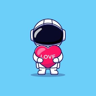Netter astronaut, der liebesherzballon hält
