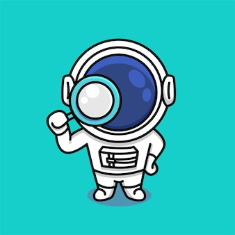Netter astronaut, der lupenkarikatur hält