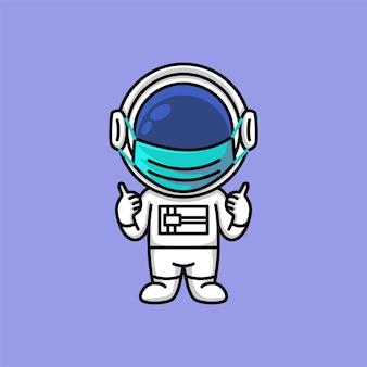 Netter astronaut, der medizinische gesichtsmaske trägt und daumen hoch zeichenkarikatur zeigt