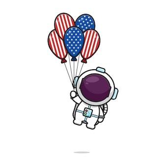 Netter astronaut, der mit ballon fliegt, feiern amerika-unabhängigkeitstagkarikaturikonen-vektorillustration. design lokalisiert auf weiß. flacher cartoon-stil.