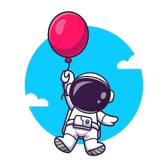 Netter astronaut, der mit ballon-karikatur-vektor-symbol-illustration schwimmt. wissenschaft technologie symbol konzept isoliert premium-vektor. flacher cartoon-stil