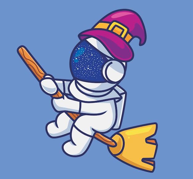 Netter astronaut, der mit einem zauberbesen fliegt. isolierte cartoon-halloween-illustration. flacher stil geeignet für sticker icon design premium logo vektor. maskottchen-charakter